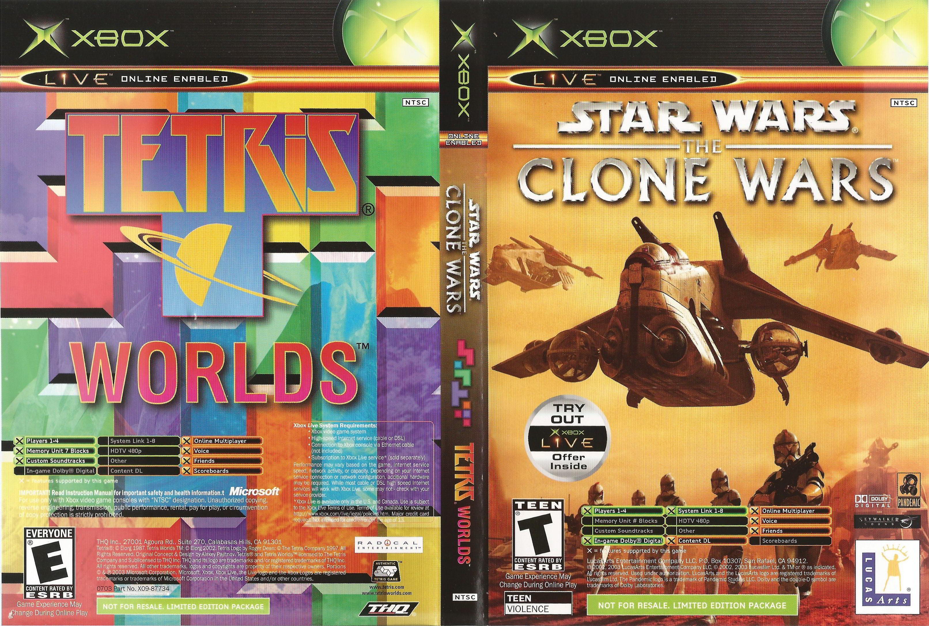 Original Xbox Game Ship : Star wars the clone tetris worlds original xbox