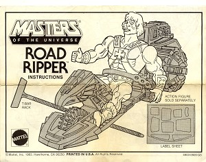 Road Ripper Instructions Manual - Masters of the Universe He-Man