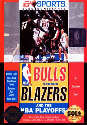 Bulls Versus Blazers and the NBA Playoffs - Sega Genesis Video Game