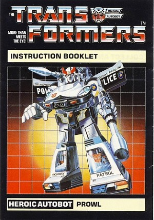 Instructions Booklet Manual - Prowl - Generation 1 Transformers