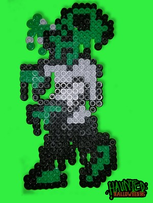 Kid Zombie Haunted: Halloween 85 Retro Perler Art Figure Magnet